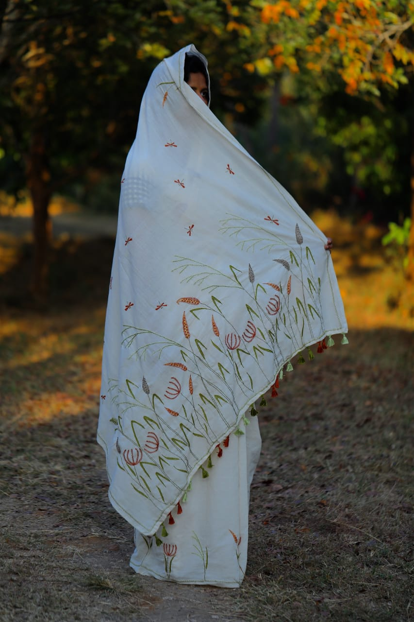 Porgai Millet Embroidered Sari Saree
